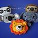 Panda, Lion, Elephant, Sloth, Koala Applique pattern