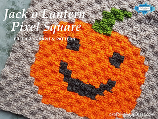 Jack o Lantern Crochet C2C Pixel Square Free Pattern by Crafting Happiness
