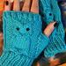 Owl Fingerless mitts pattern
