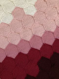 Close up of woven hexagons sewn together, showing all five colors of the visualization. This represents data from around March.
