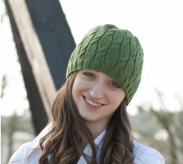 easy cable knit hat pattern from cascade yarns in 220 superwash yarn.