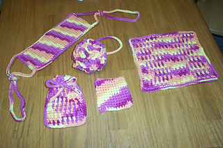 Bath spa set - cotton worsted weight, 5 pieces 20080526 04