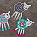 Colorful sheep crochet applique pattern