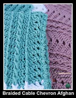 Braided Cable Chevron Afghan crochet pattern texture