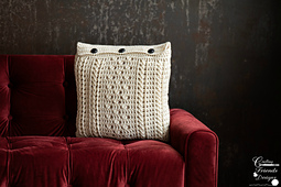 Braided Cable Block Square Pillow crochet pattern