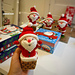 Santa Claus rises from chimney pattern