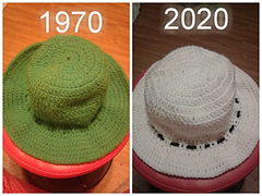 Green was made by my grandmother Katherine Skvarj or my Aunt Mary Hissom in 1970  The white hat was made by me in 2020