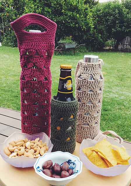 Dark Blue and Orange Striped Beer or Baby Bottle Crocheted Holder 3x6