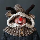 Crochet Hooded Reindeer Cowl