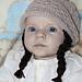 Baby girl beanie with braids pattern