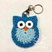 Owl Cute Key Ring / Key Chain or Applique pattern