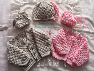 """Baby Smocked Frilly Cardigan Dress Bonnet //Bootee 14-18/"""" 4Ply Knitting Pattern"""