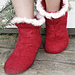 0-793 Felted Christmas slippers with cable pattern