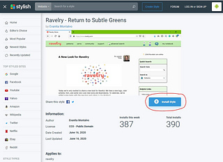 After installing the Firefox or Chrome extension for Stylish you can go to https://userstyles.org/styles/185312/ravelry-return-to-subtle-greens in order to install the style. You can also copy the code from here to add in other extensions(this will require manual updates on your behalf).