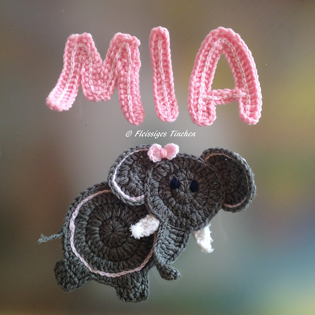 Elephant Applique/Embellishment pattern by Nathalie ... - Ravelry | 640x640