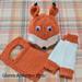 Friendly Fox Baby Hat, Bib, and Leg Warmers pattern