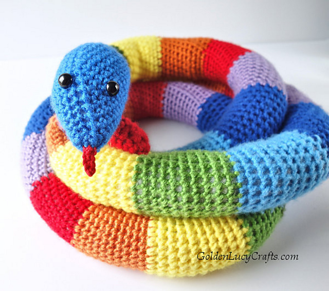 Printed Knitting Pattern For A  Snake Animal  Toy