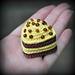 Banana chocolate cake with little chocolate balls pattern
