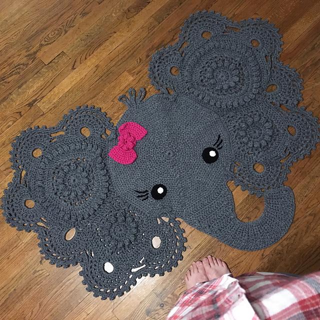 Homemade Crochet Elephant Rug with Bow: A Glimpse Into How I Made ... | 640x640