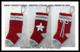 Crochet Christmas Stocking Pattern.2095c Christmas Stocking Pattern By Emi Harrington