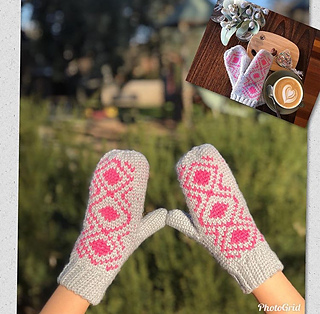 Diamond Backed Mitts Pattern tested by @yarn_tales_by_karla on IG
