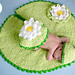 Baby Frog on Lily Pad Hat Rug Set pattern