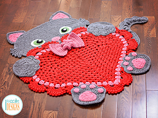 Sassy the Kitty Cat Heart Rug pattern