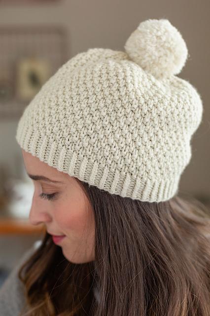knit, hat, pattern, moss stitch, beanie, blizzard, white, pom-pom, wool, knitting, magazine, interweave