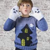 Ghost House Sweater and Mittens Set, Jane Burns 2021