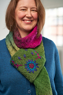 Learn to embroider your knitting with this beautiful scarf designed by Jeanette Sloan.
