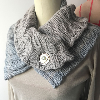 Bulky Combined Cowl in two colors of Luft, shown with the flat portion as the bottom and the cowl on top.  Vintage button collage.