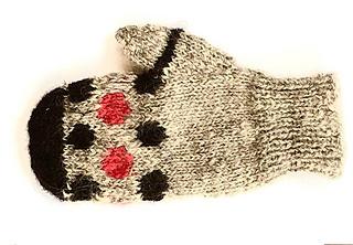 A single Mari Mitt in women's size medium, knit handspun gray Cotswold wool, red wool, and naturally black alpaca