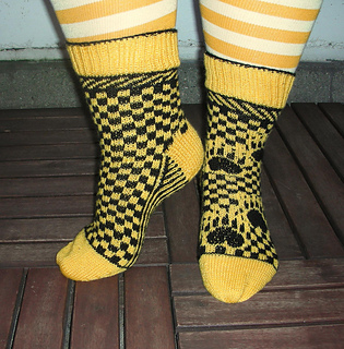Hufflepuff two colour sock knitting. pic