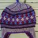 Earflap cap in purples pattern