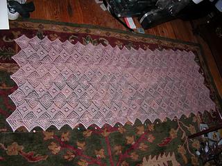 pink puzzle shawl, sharon miller