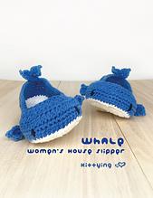 CROCHET PATTERN Whale Women's House Slipper in women shoe size 5 6 7 8 9 10 11 12 Whale Crochet Patterns Woman Ballerina Adult Crochet Socks