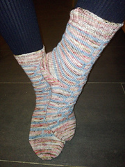 One sock was knit toe-up, the second was knit cuff down!