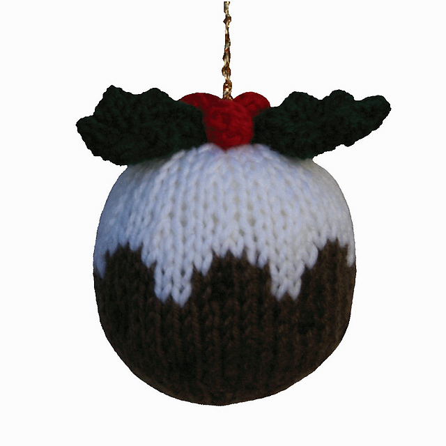 Christmas Tree and Christmas Pudding tree decorations knitting pattern