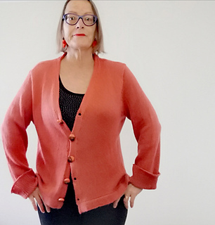 Casual Cardigan Coral Front