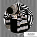 Scarf & Hat with gray stripes ZEBRA pattern