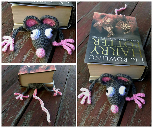 Learn how to crochet an Amigurumi Rat Bookmark Part 3 - YouTube | 537x640