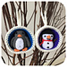 Christmas Bauble Ornament, Snowman & Penguin pattern