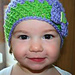 Crochet lace baby hat with bow pattern
