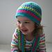 Stripped beanie and scarf set (75) includes 5  sizes from newborn to adult pattern