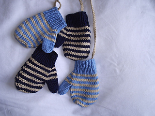 Hugh & Simon's striped mittens