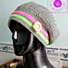 """Bright like the neon button"" beanie pattern"