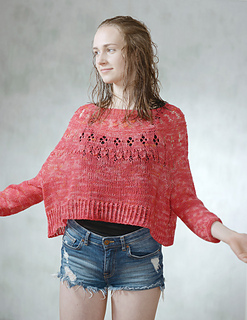 worn with about 45 cm positive ease, knitted with fingering sock yarn.