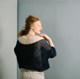 Long sleeves & wide cuffs, lace weight mohair yarn