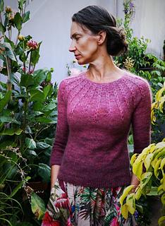 "Size 38.5"" shown on a 36"" model. Knit with Miss La Motte Cloud & Singles"