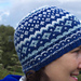 Blue and white ski hat pattern